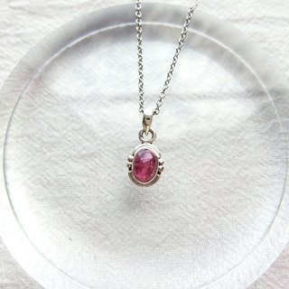 Pink red tourmaline 925 sterling silver will be simple style necklace Nepal handmade silver