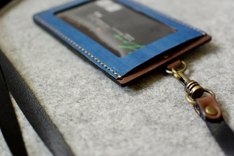 YOURS Straight ID Card Holder Double Slant Pocket Blue Leather + Dark Wood