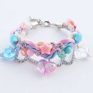 Heart chain braided bracelet in pink/blue/cream