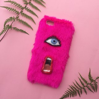 Lip n' Eye shocking pink phone case