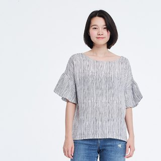 Lora Ruffle Sleeves Stripe Cotton Top