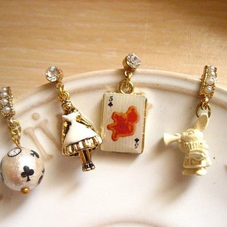 [Jolie baby] Alice Black and white series --White Alice rabbit pearl earrings set