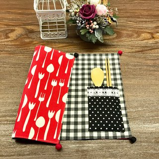Waterproof Placemat - Can be stored out of the tableware - red knife and fork pattern