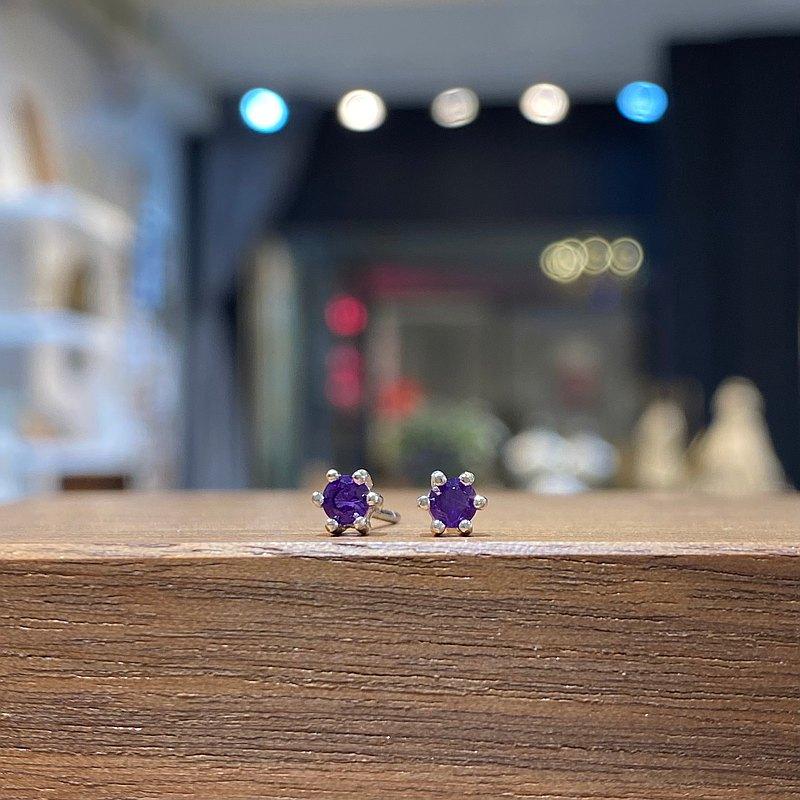 ITS-E132【迷你寶石・純銀耳環】迷你紫水晶925銀耳釘