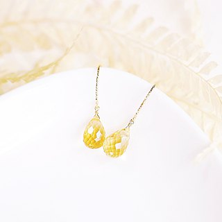Lemon sweet citrine gemstone simple earrings weight sense 14K wild temperament healing relaxation temperament