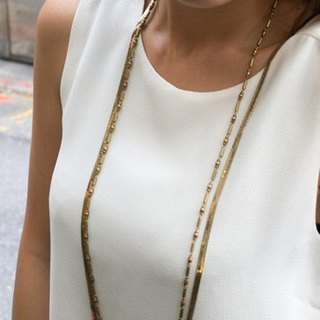 Eclectic multilevel retro brass long necklace - bamboo chain snake chain +