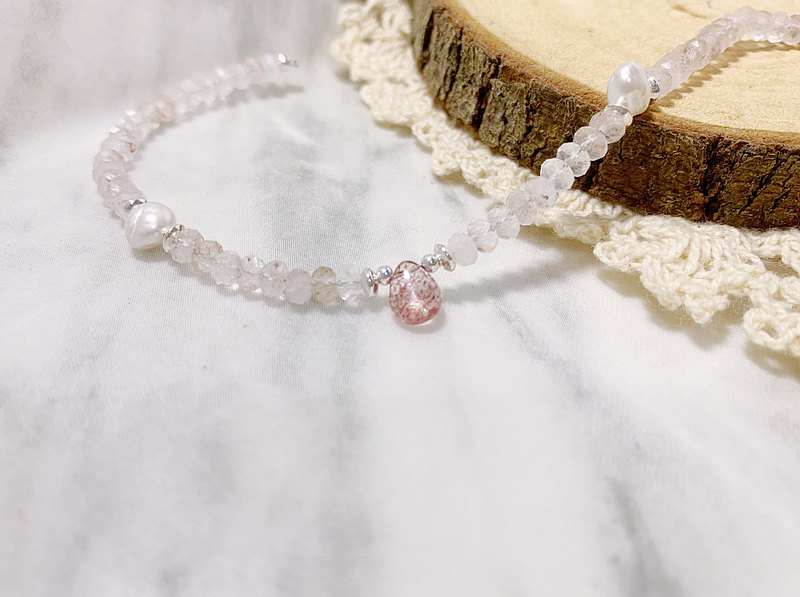 MH sterling silver natural stone_Simple Love_Powder Crystal_Strawberry Crystal
