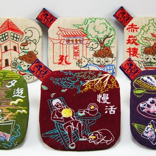 Qmo Tainan Monuments Tour Insulation Coaster Embroidery Illustration Memorial