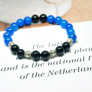 Natural stone X alloy bracelet _ black and blue => limited X1 #中性# boyfriend gift