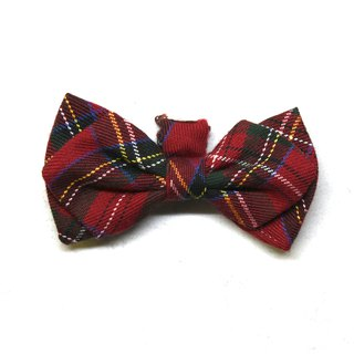 Handmade Tartan/Plaid Pet Dog Collar Accessory - Bowtie - Classic Red【ZAZAZOO】
