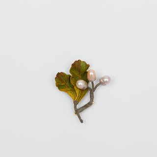 Handmade cloth plant brooch - Acorn (freshwater pearl) literary Sen female gift customized
