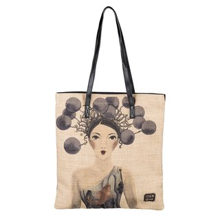 CoinQian Peking opera cotton shopping bag shoulder literary cloth bag