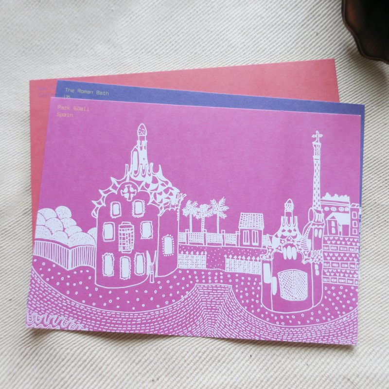 旅行風景西班牙-奎爾公園 / 插畫明信片