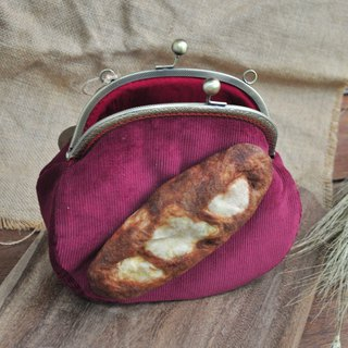 [For Handmade Wool Felt] Baguette Bread Decoration Large-mouth Gold Bag - Red - With color strap or metal back chain