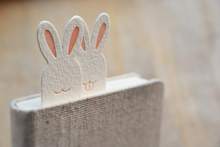 Animal haunting series bookmarks - rabbit smile rabbit and fang rabbit rabbit etterpress two printing