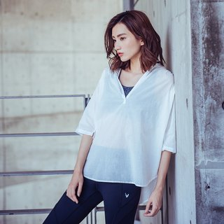 [MACACA] cotton light V blouse - BSE2292 white (yoga / jogging / fitness / light sports)
