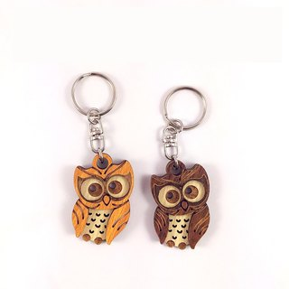 Woodcarving key ring - taro owl