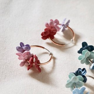 ITS-307 [Flower Fairy Earrings] Pink X Purple Flower Gold Circle Earrings Ear Pins