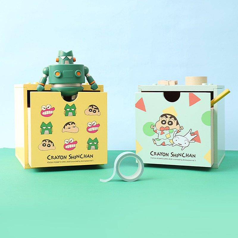 蠟筆小新積木抽屜盒-木盒 木製收納盒 整理收納箱 儲物盒