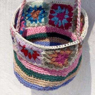 Christmas Limited a hand crocheted woven storage basket / Storage basket / hanging bags / woven basket nest - pink flowers woven Forest