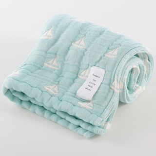 [Japan made immediate crepe] six heavy yarn towel - blue sailboat