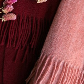 Rose tea red lamb wool tassel scarf (with wine red optional)