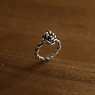 Oath - Rose Twist Ring - Silver Ring
