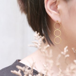 Brass ring in the long drop earrings pin clip