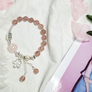 Natural strawberry crystal bracelet peach blossom love powder crystal bracelet cherry powder girl 925 sterling silver bracelet bracelet
