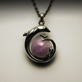 Dolphin amethyst necklace
