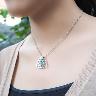 Triangle shape sterling silver pendant