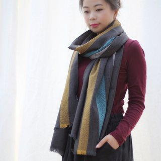 Mercerized striped wool shawl