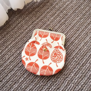 Handmade gold card coin purse - orange leaves