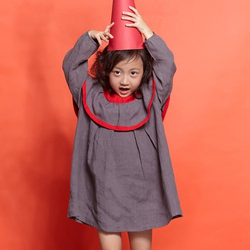 Ángeles-large lotus leaf collar color dress (7-10y)