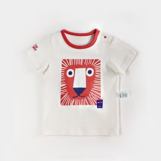 Baby t-shirt lion printing embroidery 40 double-sided cotton 0 - 24 months