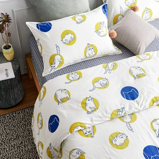 Circle 喵 single double bed / bed bag hand-painted cat 40 cotton bed pillowcase quilt cover optional