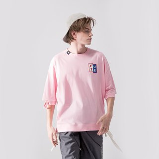 UNISEX LACE UP HEM ROUND NECK T SHIRT / Pink