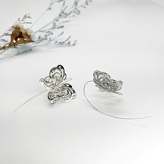 S Lee-925 silver hand-made curve series - colorful flying - three-dimensional butterfly big ear hook \ earrings / ear needle