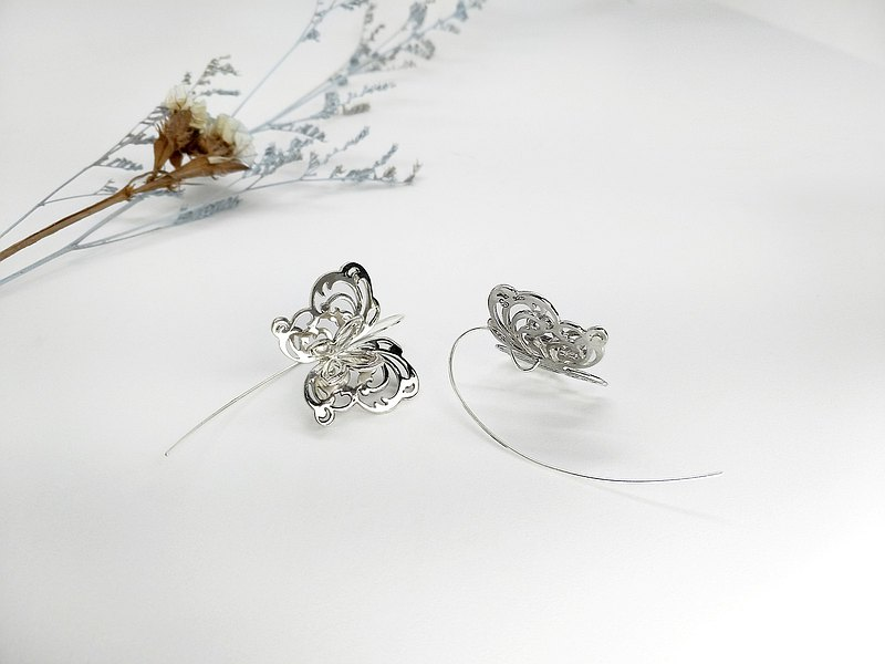 S Lee-925 Silver Hand-made Curve Series-Colorful Flying-Three-dimensional Butterfly Big Ear Hook\Earrings\Ear Pins