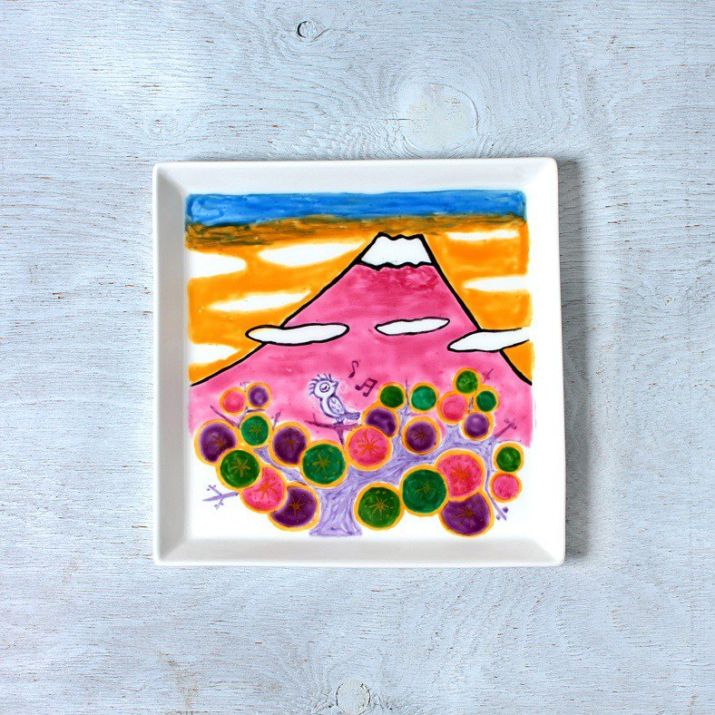 Fuji of the spring (singing bird) · square plate (21 cm)