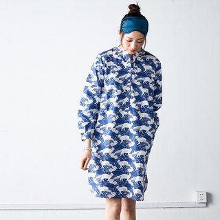瞅啥喵 cotton blue cat print home pajamas dress long-sleeved shirt skirt home out service