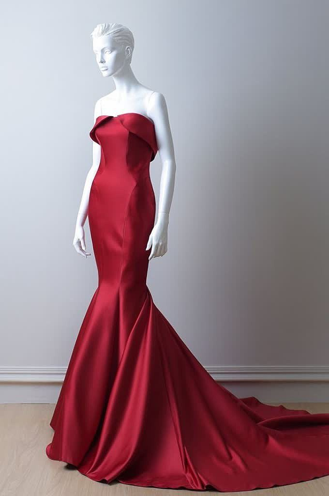 Red Mermaid Satin Dress