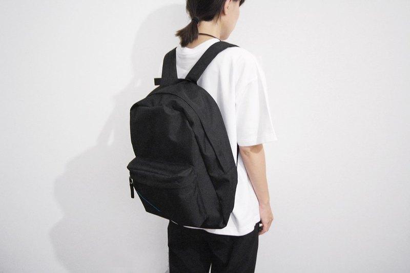 黑色閃電線基本款後背包 上學書包 電腦包 - 開學禮物