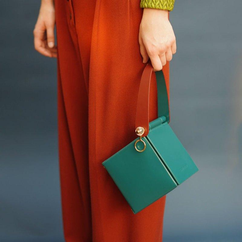 藍綠色 3色方糖盒子 方形單肩造型鏈條包 肩背側斜挎手拎隨行小包