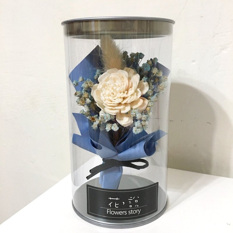 / Dry Flowers - Small Objects - Office Healing Small Bottle Flower White Sun Rose * Blue - With Box