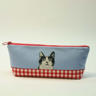 Embroidery Pencil Bag 15 - Black and White Cat