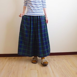 Daily hand-made suit natural forest blue-green plaid pleated long skirt cotton