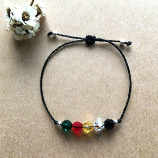 Green red yellow white black five lines / Brazilian wax line / sterling silver woven bracelet 925 silver bracelet