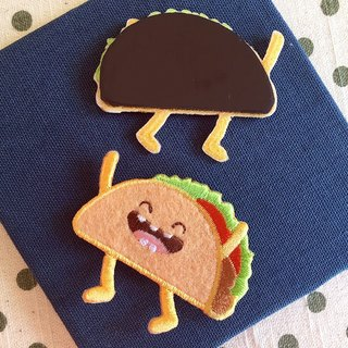 Embroidered magnets - Happy fast food series Laughing Mexican pie (single)