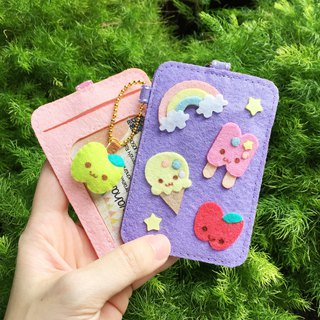 Purple ice cream, rainbow and apple card holder with neck strap.